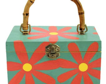 Cigar Box Purse With Daisy Design With Daisy Design, Hand Painted, One of a Kind