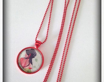 Chain necklace red beads Cabochon geisha