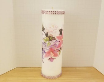 Decorative Flowered Pillar Candle