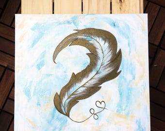 ACRYLIC PAINTING, Original painting, feather art wall