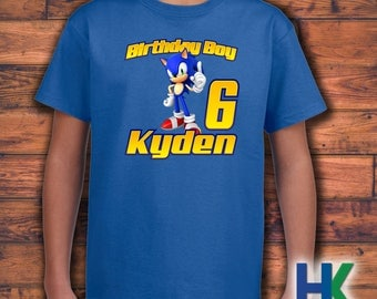 Custom Sonic The Hedgehog Birthday Shirt Youth Short Sleeve -  Tales Knuckles Inspired