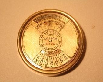Vintage Brass 50 Year Calendar 1972 To 2021 (Paperweight)