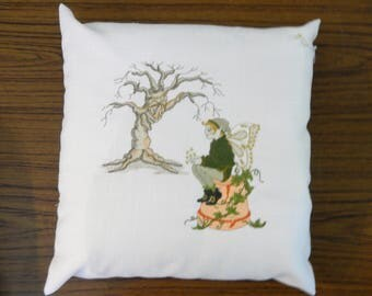 Unique handmade machine embroidered enchanted Pixie fairy cushion pillow