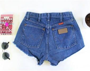 Vintage Wrangler High Waisted Denim Jean Shorts - Cut Offs - Destroyed Jeans - Short Shorts - Distressed Denim Shorts - Festival Short