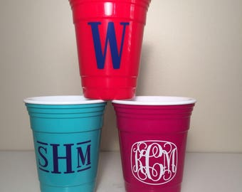 Monogrammed Insulated Party Cup - Azalea