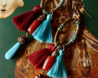 "Pierced ear ethnic ""BELIZE"" copper patina, tassels, ethnic beads, turquoise glass beads"