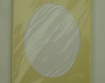 Set of 5 pale yellow DMC mat 3 card with envelopes