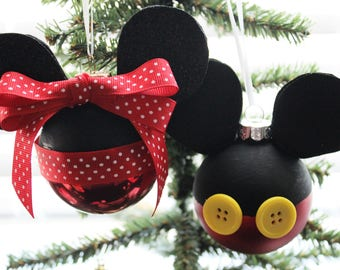 Minnie Mickey Mouse ornaments, Minnie Mouse Mickey Mouse Disney inspired Christmas ornament set