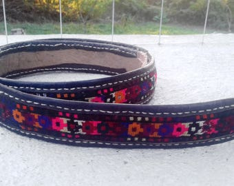 Antique Rare 19c. embroidered Belt, Leather and Cotton, part of Bulgarian folk Costume