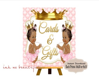 PRINTABLE Princess Twins Baby Shower Gift Table Sign Prints 16X20 8X10, Royal Baby Shower Decor, Royal Collection