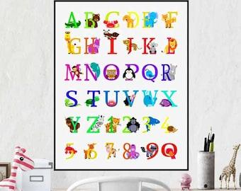 Alphabet Poster Nursery Decor Woodland Nursery ABC Wall Art Alphabet Wall  Art Alphabet Print Kids Room