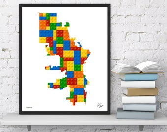 Milwaukee Lego Map   Kid Bedroom Wall Art