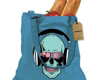 Skull DJ Earphones Shopping Tote Bag
