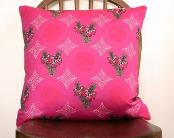 Pink Wildflower handmade cushion cover on cotton half panama