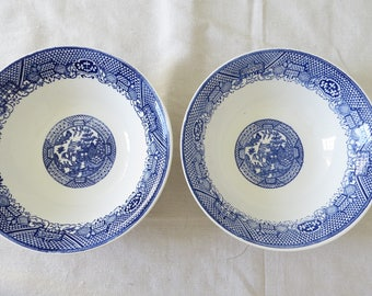 Blue and white blue willow vegetable bowls, chinoiserie bowl, asian bowl, vintage blue and white, pagoda, serving bowls, large blue willow