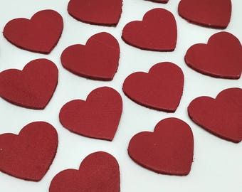 Leather Hearts, 50 Pcs, Red, 4 Sizes 15mm. 20mm. 25mm. 30mm., Leather Hearts Die Cut, Red Hearts, Hearts Shape, Hearts Style.
