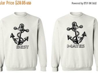 ON SALE - Anchor, Best Mates - Couple Crewneck Sweatshirts