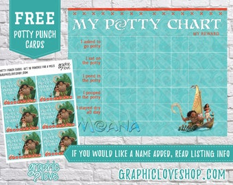 Printable Moana and Maui Potty Training Chart, FREE Punch Cards | High Resolution JPG File, Instant Download
