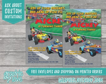 Personalized Mickey Roadster Racers Birthday Invitation | 4x6 or 5x7, Digital or Printed, Envelopes, FREE US Shipping