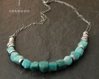 Oxidized sterling silver & Russian amazonite - necklace