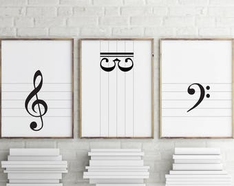 Music prints: treble clef / bass clef / alto clef > printable instant download / monochrome musical decor