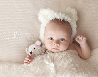 Bear Bonnet, Newborn Bonnet, Newborn Photo Prop, Newborn Hat, Photography Prop, Baby Bonnet, Newborn Photography
