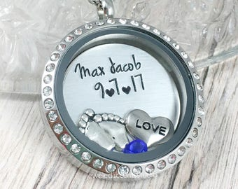 New Mom Locket, Mom Floating Locket, New Baby Necklace, Birth Stats Jewelry, Push Gift, Baby Name Birthdate, Mom First Christmas,New Grandma