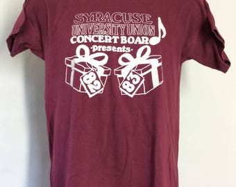 Vtg 1982 Syracuse University Concert T-Shirt S/M 80s Johnny Thunders Miles Davis Adam Ant Thompson Twins