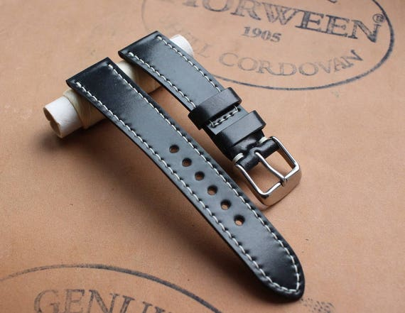 Custom Horween Shell Cordovan watch strap - full stitching / various sizes / unlined