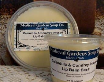 Bulk, Lip Balm Base, Calendula & Comfrey Infused Lip Balm Base, Bulk, Medieval, Garden, Lip Balm, Cosmetic, Beeswax, Herbal, Clear, DIY