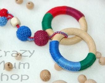 Baby crochet rattle, Baby toy teether, ECO-friendly toy, Baby rattle, Wooden Teether ring, Teething toy, Crochet organic cotton baby rattle