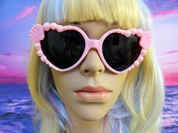 I'm Really A MERMAID Sunglasses Sun Glasses Sunnies Heart Shaped Ariel Love Pink Barbie Disney Nautical Pinup The Little Retro Vintage A021