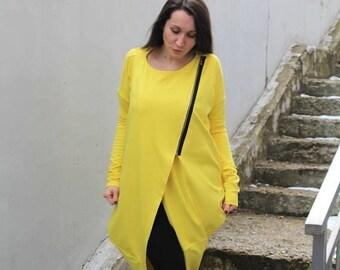 SALE Yellow Tunic/ Maxi Tunic/ Maxi Dress/ Asymmetric Top/ Boho Top/ Plus Size Maxi/ Oversized Top/ Long Sleeves Top/ Spring Tunic/by FRKT B