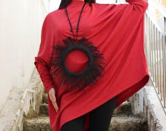 SALE Long Sleeves Tunic/Womens Top/Asymmetric Top/ Oversized top/Tunic Top/ Yoga Top/ Plus size tunic/Cotton tunic/Sport tunic/ by FRKT B006