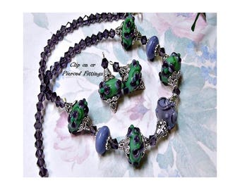 Lavender Purple Green Lampwork Artisan necklace and earrings set, choose your fittings