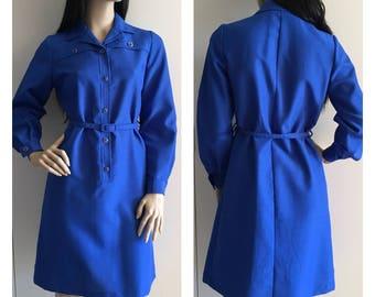 Vintage 80s Dress - Blue Dress - Retro Dress -  Office Fashion - Shirt Dress - SMALL