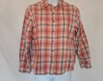 Vintage Pendleton Orange/Pink and Brown Flannel Plaid Shirt