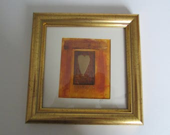 Gold Heart handprinted picture in gold frame