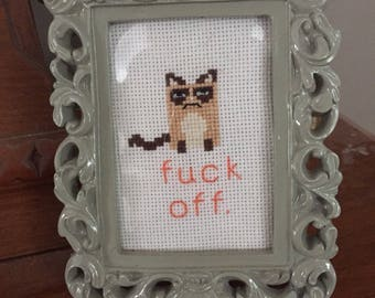 Framed Grumpy Cat Cross-stitch