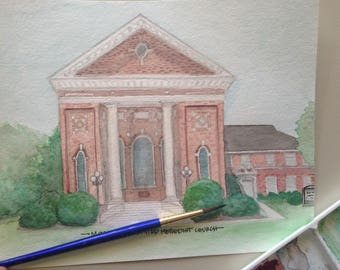 Watercolor Painting of Montezuma United Methodist Church in Montezuma, GA - 8x10 print