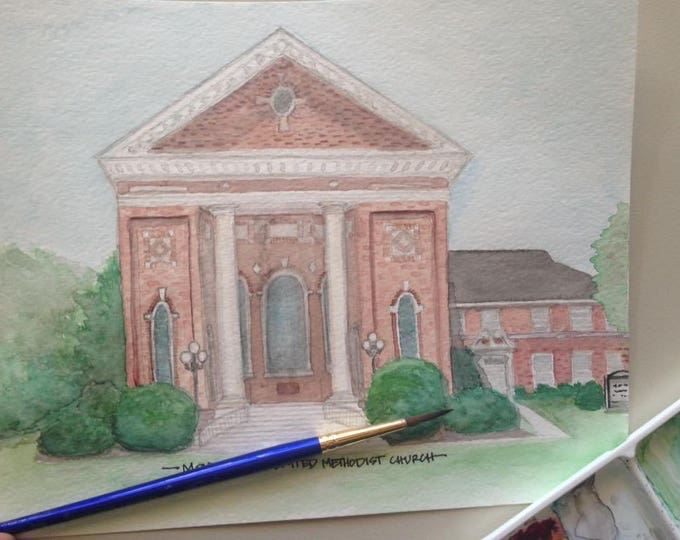 Featured listing image: Watercolor Painting of Montezuma United Methodist Church in Montezuma, GA - 8x10 print