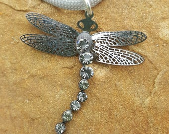 Dragon Fly and Rhinestone Pendant On a Paracord Necklace