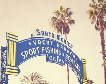 Santa Monica Photography, Santa Monica Sign, Beach Photography, Santa Monica Print, California, Summer Art, Pastel Art, Fine Art Photography