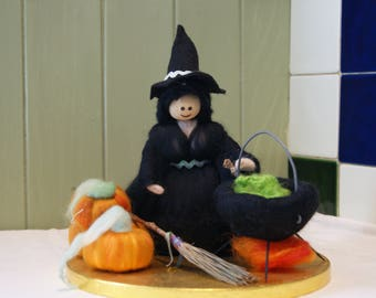 Wool Felt Witch. Element Fairy. Element Witch. Pagan Doll.  Samhain. Halloween Celebration. Forest Witch. Earth Witch. Pagan Witch. Woodland