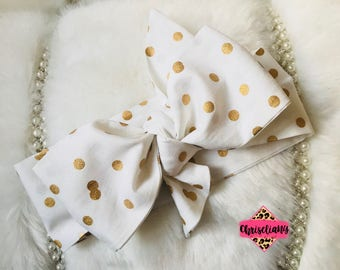 Gold Polka Dottie Headwrap, Fabric Headwrap, Baby Headwrap, Toddler Headwrap, Bow Headwrap, black headwrap, Newborn Headwrap