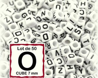 "cube alphabet ""O"" 7mm - letter beads 50 beads"