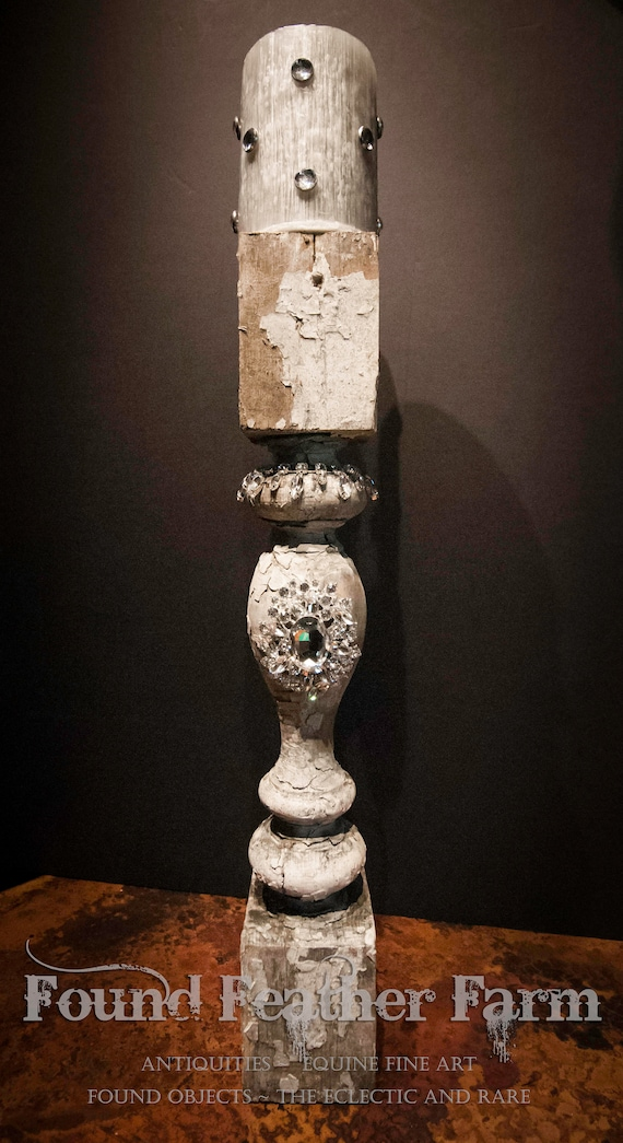 Antique Jeweled Pilaster with Jeweled Beeswax Candle
