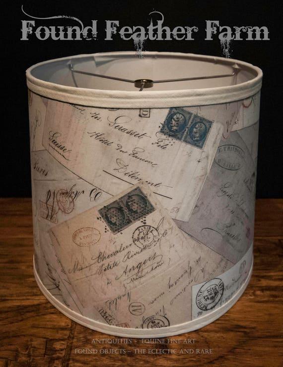 Large Round Vintage Drum Lamp Shade with Printed Antique French Postcard Ephemera