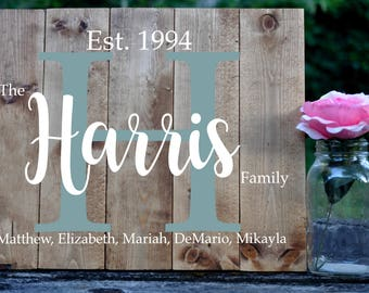 Personalized Family Name Sign Pallet Sign Engraved Sign Home Decor Housewarming Gift Wall Decor Initial Sign Shabby Chic Farmhouse