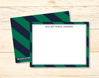 MEN'S Personalized notecards, COLLEGIATE Monogram Notecards, Personalized Thank You Notes, Monogram Stationary, Signature Stationary